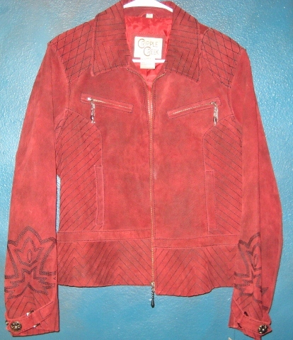 COWGIRL STYLE JACKET Embroidered Red Cross Zip Front Western Leather Jacket Coat by Cripple Creek