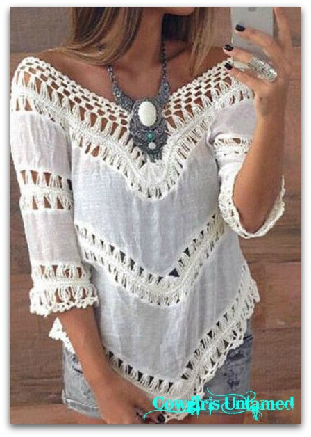 WILD FLOWER TOP Soft White Lace Crochet and Cotton Hi Low Hem Boho Top