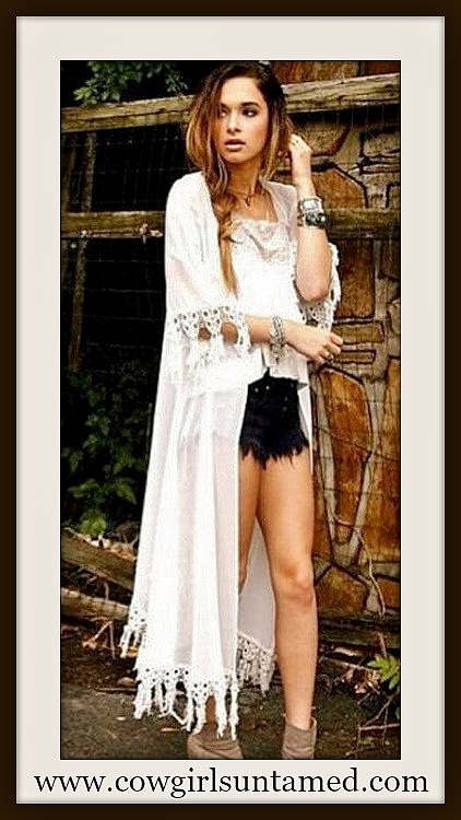 COWGIRL GYPSY JACKET White Crochet Lace Fringe Trim on Long Chiffon Boho Kimono