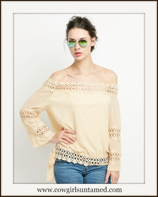 WILDFLOWER TOP Tan Crochet Lace Dolman Sleeve Oversized Boho Top