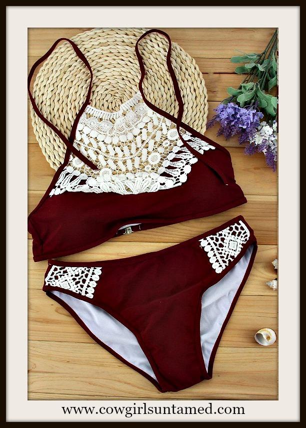 COWGIRL GYPSY BIKINI White Crochet Lace Padded High Neck Burgundy Bikini