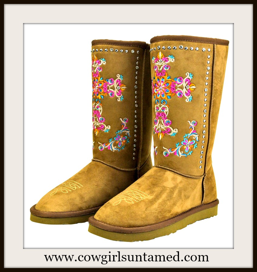 SPIRITUAL COWGIRL BOOTS Embroidered Cross on Tan Fur Lined Winter Boots