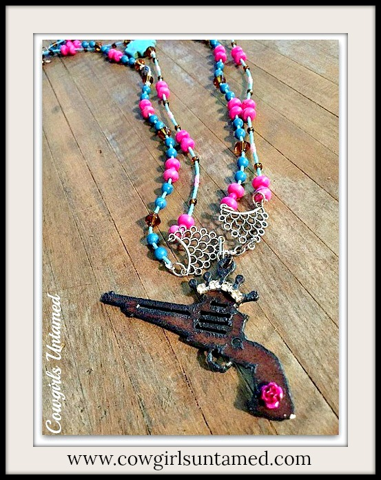 COWGIRL OUTLAW NECKLACE Crown N Pistol Pendant on Hot Pink N Turquoise Beaded Western Necklace