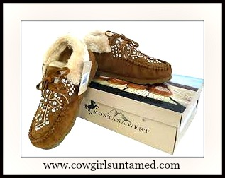 SPIRITUAL COWGIRL MOCCASINS Fur Lined Silver Studded Cross Tan Moccasins