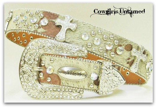 COWGIRL BELT Rhinestone Studded Silver Cross Concho on Pony Hair on Hide Leather Western Belt