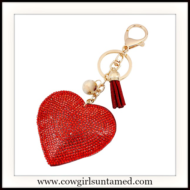 COWGIRL GLAM KEYCHAIN Large Red Crystal Heart Leather Tassel Charm Keychain
