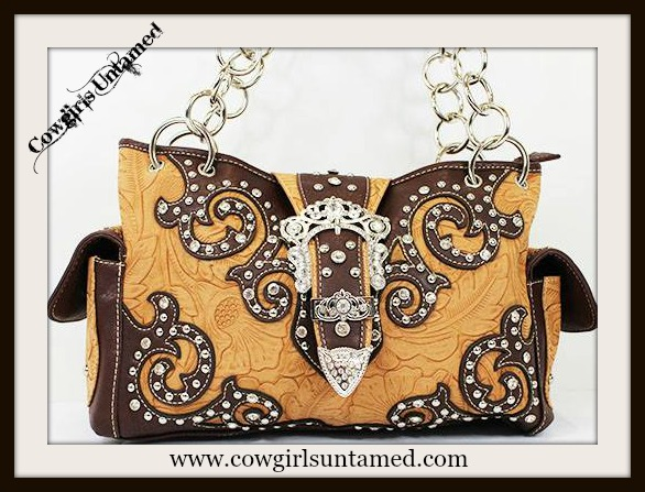 COWGIRL STYLE HANDBAG Crystal Silver Buckle Closure on Rhinestone Studded Leaf Embossed Brown Leather Western Handbag