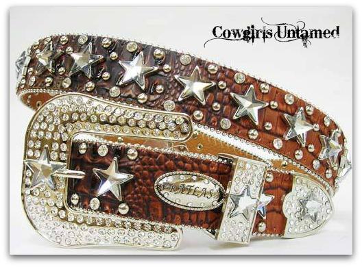 ATLAS BELT Crystal Stars Rhinestone Studded Brown Crocodile Leather with Silver Buckle Western Belt