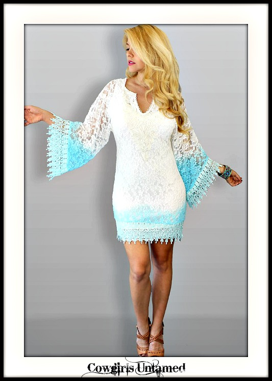 RODEO FOX DRESS Aqua and White Ombre  White Lace Crochet Mini Dress