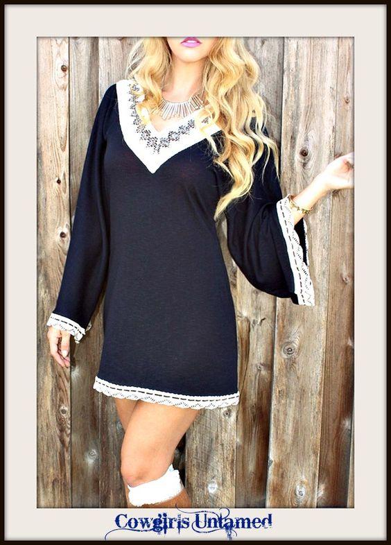 RODEO FOX DRESS Kimono Sleeve Lace Crochet Trim Boho Sweater Mini Dress Tunic Top