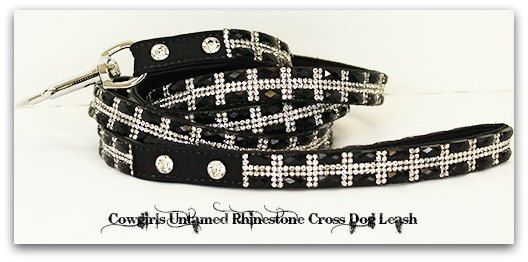 COWGIRL PET STYLE Dog Glam Rhinestone Cross on Black Pet Leash