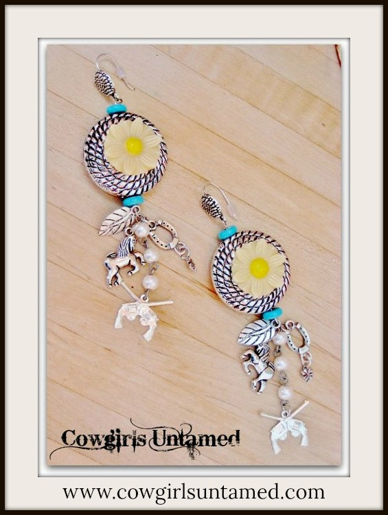 COUNTRY COWGIRL EARRINGS Turquoise  & Yellow Daisy Charm Earrings