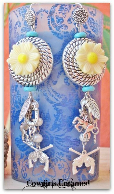 COUNTRY COWGIRL EARRINGS Turquoise  & Yellow Daisy with Western Charms Earrings