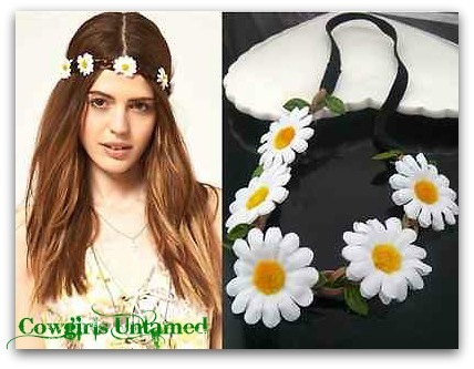 COWGIRL GYPSY HEADBAND Daisy Flowers on Braided Leather Stretchy Boho Headband