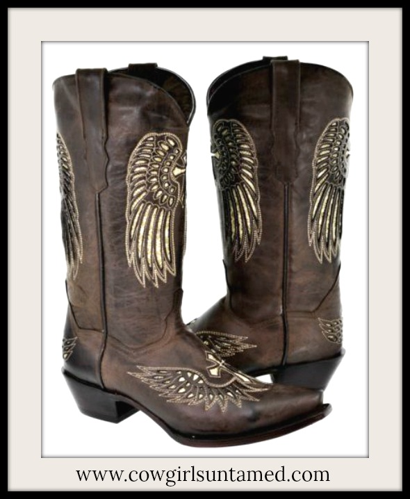 COWGIRL STYLE BOOTS Gold Sequin Angel Wing & Cross Snip Toe GENUINE Dark Brown LEATHER Boots