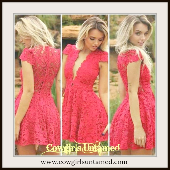 COWGIRL GYPSY DRESS Deep V Neck Lined Red Floral Lace Mini Dress