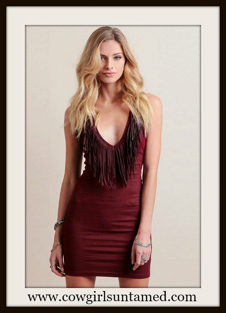 RODEO REBEL DRESS Wine Red Deep V Fringe Neckline Mini Dress