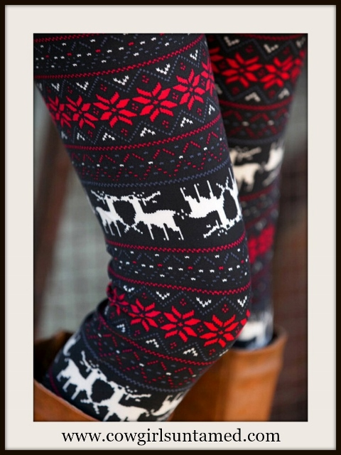 COUNTRY COWGIRL LEGGINGS Deer & Poinsettia Flower Grey Black N Red Winter Leggings