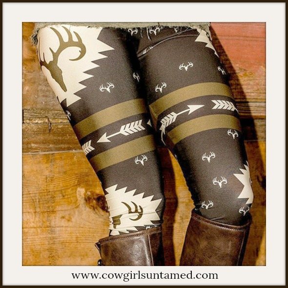 COUNTRY COWGIRL LEGGINGS Deer and Arrow Stretchy Leggings