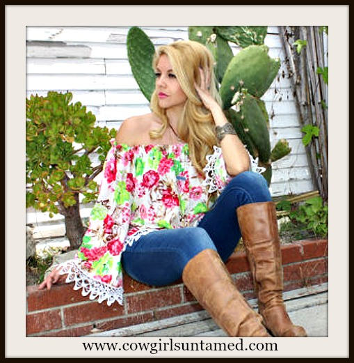 RODEO FOX TOP White Lace FringeTrim Bell Sleeve Floral Off The Shoulder Top