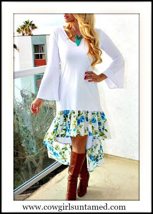 RODEO FOX DRESS High Low Floral Ruffle Hem Bell Sleeve White Maxi Dress