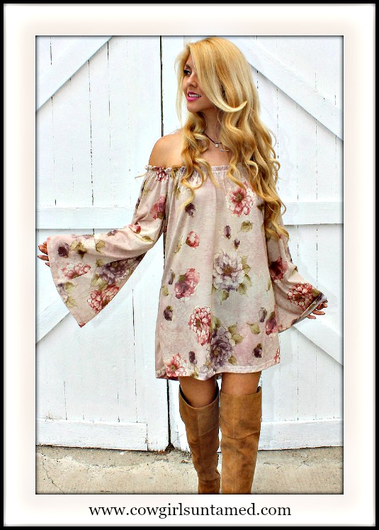 RODEO FOX DRESS Off The Shoulder Floral Bell Sleeve Dusty Rose Tunic Top Mini Dress