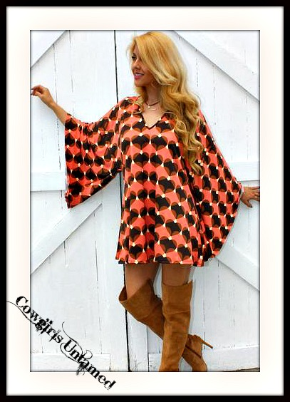 RODEO FOX DRESS Heart Design Kimono Sleeve Boho Mini Dress Tunic Top