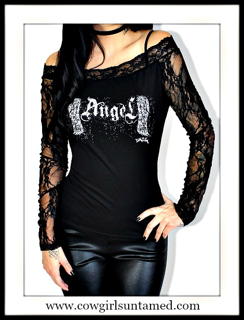 "DEMI LOON TOP Black Lace Off The Shoulder Slashed Back ""ANGEL"" Top"