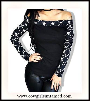 DEMI LOON TOP White Skull Off the Shoulder Long Sleeve Top