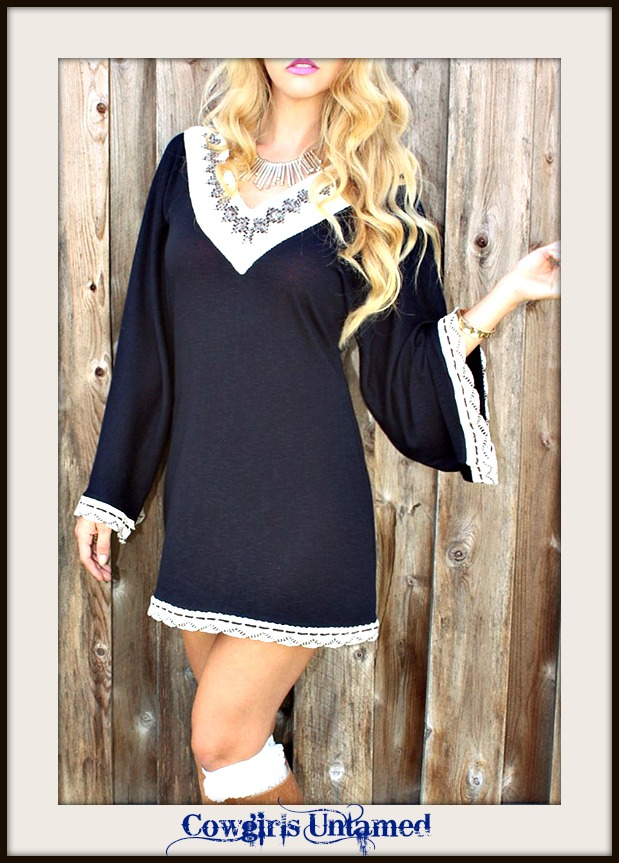 RODEO FOX DRESS Kimono Sleeve Lace Crochet Trim Boho Sweater Mini Dress Tunic Top