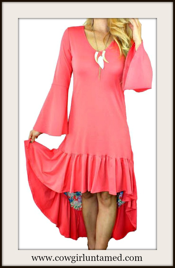 RODEO FOX DRESS Coral Hi Low Hemline Tiered Boho Dress