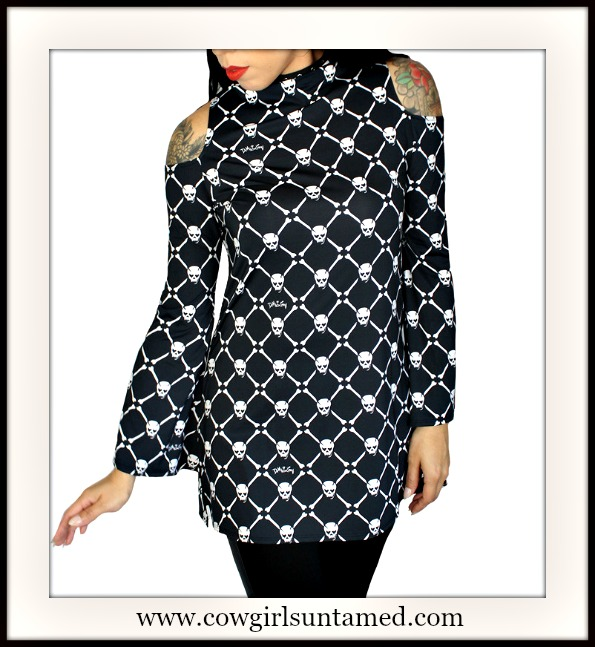 DEMI LOON TOP White Skull Open Shoulder Long Sleeve Tunic Top