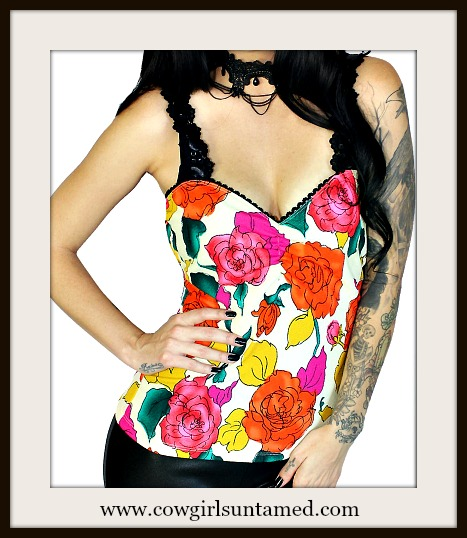 DEMI LOON TOP Black Lace Strap Bright Floral Tank Top
