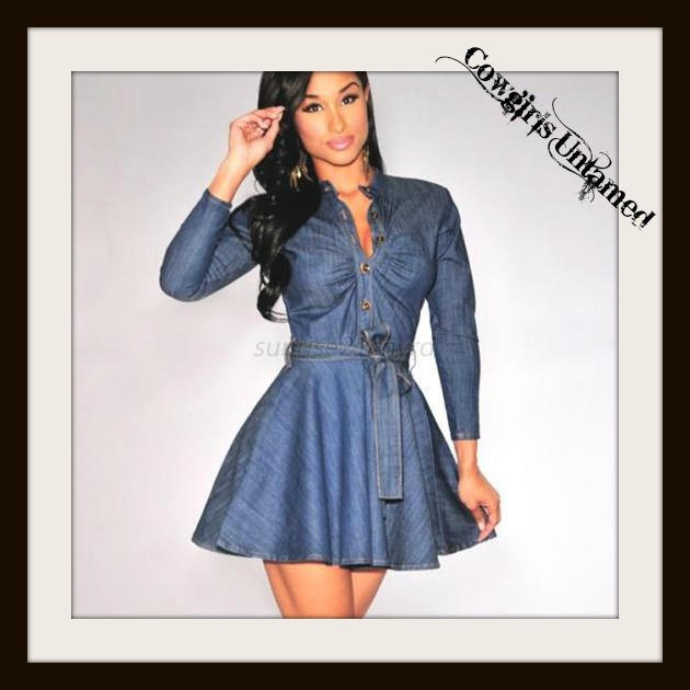 COWGIRL STYLE DRESS Ruched Top Blue Denim Long Sleeve Skater Mini Dress