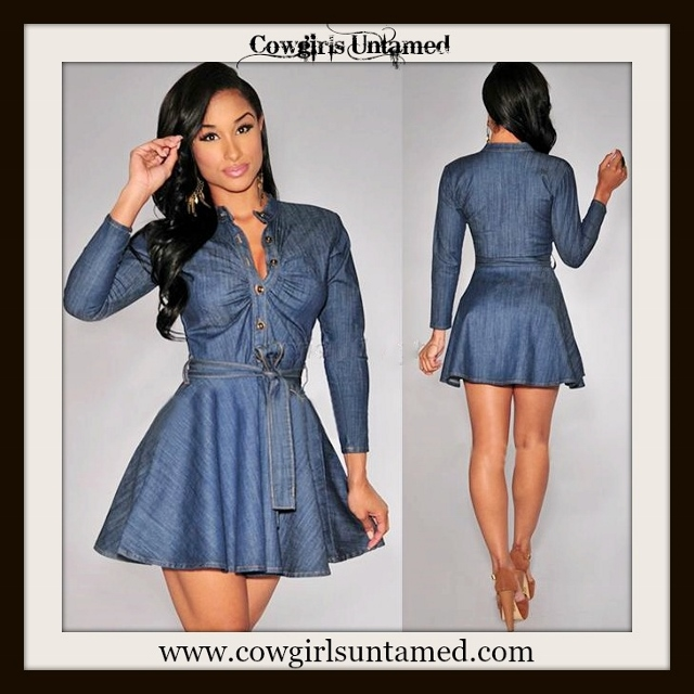 COWGIRL STYLE DRESS Ruched Top Blue Denim Long Sleeve Skater Mini ...