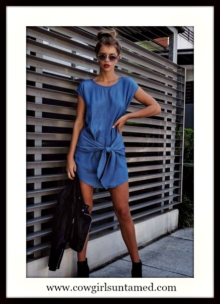 COWGIRL STYLE DRESS Tie Front Blue Denim Cap Sleeve Mini Dress