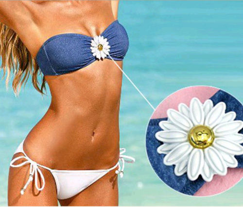 COUNTRY COWGIRL BIKINI Blue Denim and Yellow Crystal Daisy Push-up Bandeau Top White String Western Bikini SET