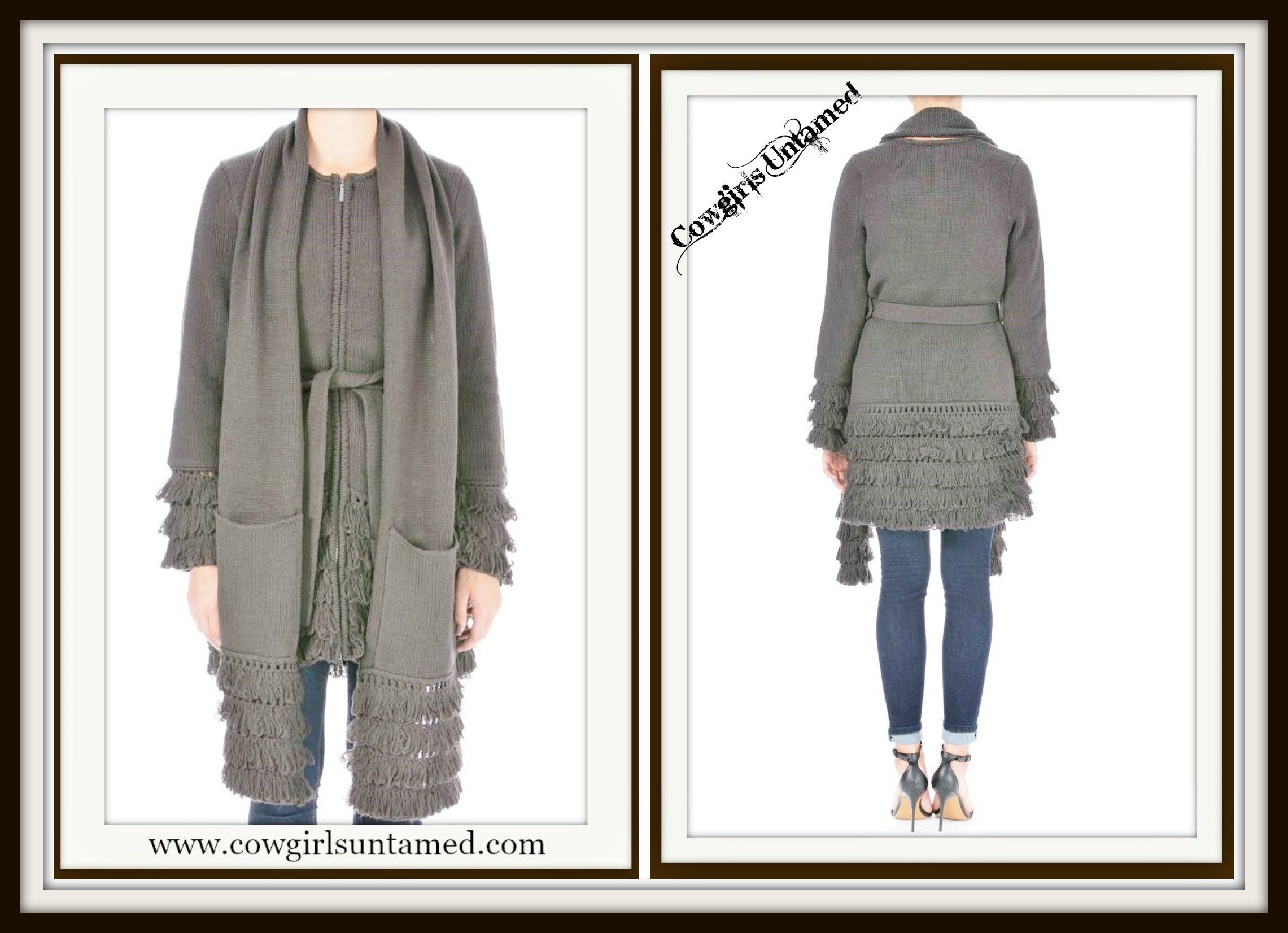 LAUNDRY by SHELLI SEGAL Tiered Fringe and Belted Gray Long Sleeve Sweatercoat FREE SCARF & BELT