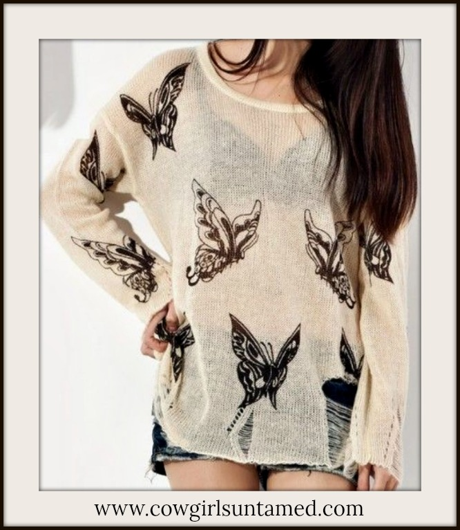 COWGIRL GYPSY SWEATER Black Butterfly on Beige Light Weight Distressed Western Sweater