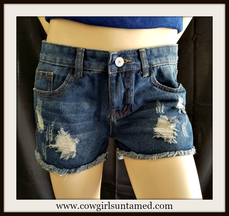 XOXO SHORTS Blue Jean Denim Distressed Cut Off Shorts