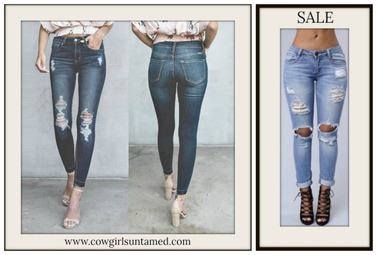 BOHEMIAN COWGIRL JEANS Stretchy Slightly Distressed Skinny Jeans ON SALE!