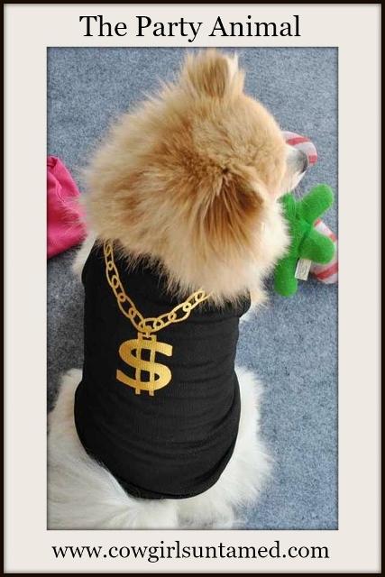 BLINGIN' BESTIES Gold Dollar Necklace Print Black Dog Tee