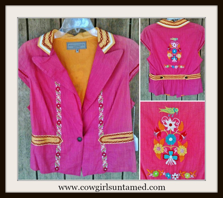 COWGIRL GYPSY JACKET DD Ranch Pink Orange Red Green Embroidery Cap Sleeve Western Jacket