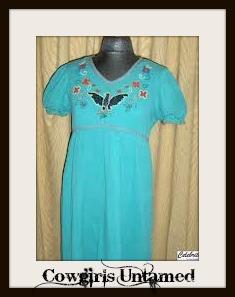 AMERICAN COWGIRL DRESS DD Ranch Wear Aqua Beaded Eagle Empire Waist Designer Boho Western Dress