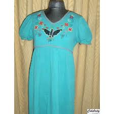 DOUBLE D RANCH DRESS - Cowgirl Gypsy Aqua Beaded Eagle Empire Waist Boho Western Dress