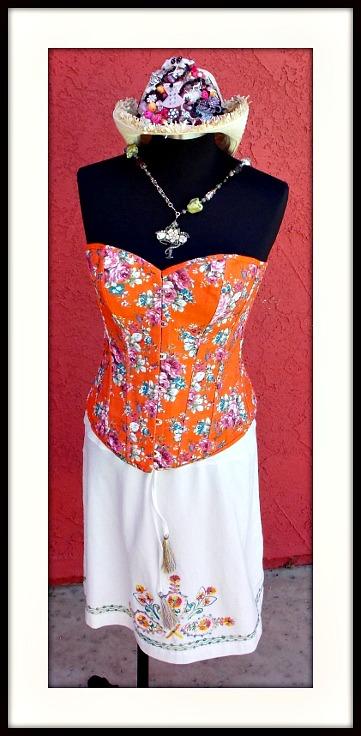 DOUBLE D RANCHWEAR SKIRT Multi Color Embroidered & Beaded & Sequin Drawstring Designer DOUBLE D RANCH White Western Skirt