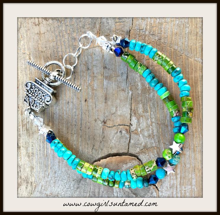 BOHEMIAN COWGIRL BRACELET Green & Blue Jasper Blue Crystal Silver Star Beaded Double Strand Bracelet