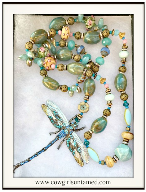 VINTAGE COWGIRL NECKLACE  Aqua Crystal Dragonfly Pendant on Antique Bronze Blue Crysta; Beaded Necklace