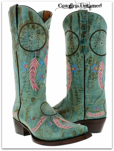 COWGIRL STYLE BOOTS Embroidered Dreamcatcher Snip Toe GENUINE AQUA TURQUOISE LEATHER Western Cowgirl Boots