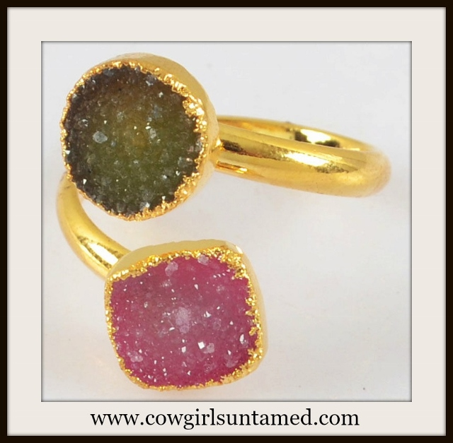 WILDFLOWER RING Genuine Double Hot Pink Agate Druzy N Gold Plated Boho Ring